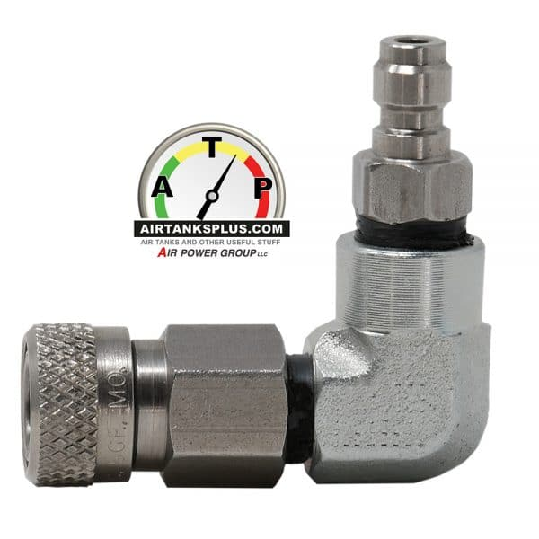Male quick-connect to female foster fitting 90-degree adapter